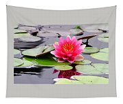 Reflections Of A Pink Waterlily  Tapestry