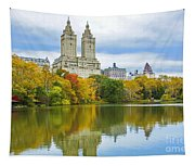 Reflections Of Autumn Central Park Lake  Tapestry