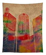 Renaissance Center Iconic Buildings Of Detroit Watercolor On Worn Canvas Series Number 2 Tapestry by Design Turnpike