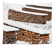 Renewable Heat Source Firewood Stacked In Winter Tapestry