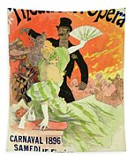 Reproduction Of A Poster Advertising The 1896 Carnival At The Theatre De L'opera Tapestry