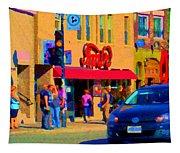 Restaurant Amir Internet Cafe Fast Food Plateau Montreal City Street Scene Art Carole Spandau  Tapestry