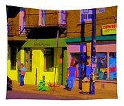 Restaurant El Pintxo Rue Roy Plateau Montreal Basque Food Spanish Cafe City Scene Art Carole Spandau Tapestry