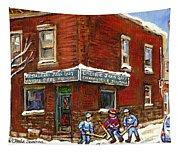 Restaurant Epicerie Jean Guy Pointe St. Charles Montreal Art Verdun Winter Scenes Hockey Paintings   Tapestry