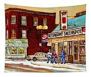 Restaurant Greenspot And Coin Vert Boutique Fleuriste Montreal Winter Street Hockey Scenes Tapestry
