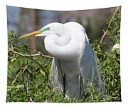 Resting Great Egret Tapestry