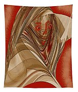 Resting Woman - Portrait In Red Tapestry