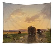 Return From The Field In The Evening Glow Tapestry
