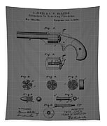 Revolver Firearm Patent Blueprint Drawing Tapestry