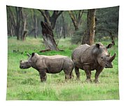 Rhino Family Tapestry