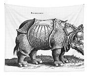 Rhinoceros No 76 From Historia Animalium By Conrad Gesner  Tapestry