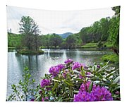 Rhododendron Blossoms And Mountain Pond Tapestry