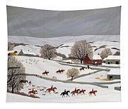 Riding In The Snow Tapestry