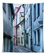 Riga Narrow Street Painting Tapestry