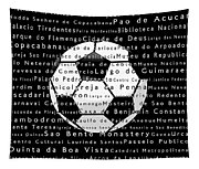 Rio De Janeiro In Words Black Soccer Tapestry