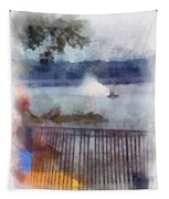 River Boat Speed Racing Vertical Photo Art Tapestry