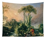 River Landscape With An Antique Temple Tapestry