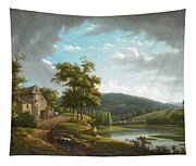 River Landscape With Farmhouse Tapestry