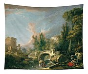 River Landscape With Ruin And Bridge Tapestry