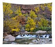 River Rapids In Zion Tapestry