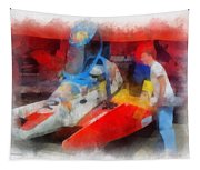 River Speed Boat Number 2 Photo Art Tapestry