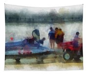 River Speed Boat Photo Art Tapestry