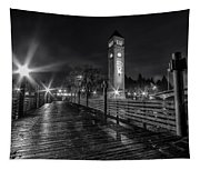 Riverfront Park Clocktower Seahawks Black And White Tapestry