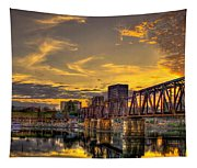 6th Street Sunset Augusta Georgia Riverwalk Marina Art Tapestry