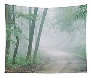 Road Passing Through A Forest, Skyline Tapestry