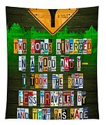Robert Frost The Road Not Taken Poem Recycled License Plate Lettering Art Tapestry