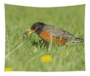 Robin Vs Worm Tapestry