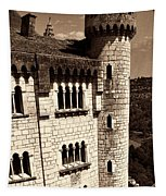 Rocamadour Stone Tower Vertical Panorama Sepia Tapestry