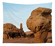 Rock Formations And Abandoned Building Tapestry