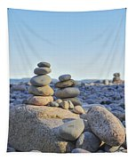 Rock Piles Zen Stones Little Hunters Beach Maine Tapestry