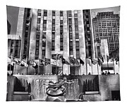 Rockefeller Center Black And White Tapestry