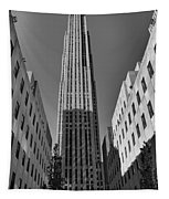 Ge Building In Black And White Tapestry