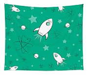 Rocket Science Green Tapestry