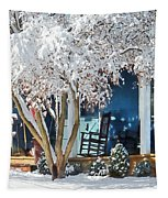 Rocking Chair On Porch In Winter Tapestry