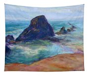 Rocks Heading North - Scenic Landscape Seascape Painting Tapestry