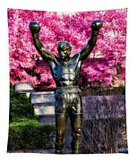 Rocky Among The Cherry Blossoms Tapestry