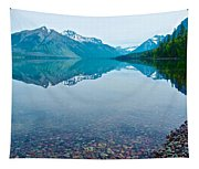 Rocky Mountain And Rocky Bottom Reflection In Lake Mcdonald In Glacier National Park-montana Tapestry