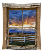 Rocky Mountain Country Beams Of Sunlight Rustic Window Frame Tapestry