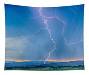 Rocky Mountain Foothills Lightning Strikes 2 Hdr Tapestry