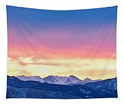 Rocky Mountain Sunset Clouds Burning Layers  Panorama Tapestry