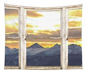 Rocky Mountain Sunset White Rustic Farm House Window View Tapestry