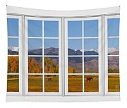 Rocky Mountains Horses White Window Frame View Tapestry