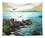 Rocky Seashore And Seagulls Tapestry