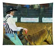 Rodeo Cowboy Referee Tapestry