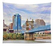 Roebling Bridge And Downtown Cincinnati 9850 Tapestry