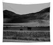 Rolling Hills And Cattle In Black And White Tapestry